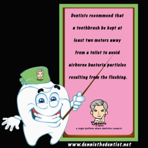 Dentists recommend that a toothbrush be kept at least two meters away from a toilet to avoid airborne bacteria particles resulting from the flushing.
